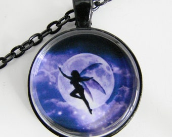 MOONLIGHT FAIRY Necklace, A fairy flits across the full moon, Shades of blue, Friendship token for her