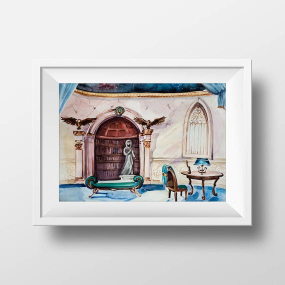 Wall Art Ravenclaw Common Room Watercolor PrintHarry Potter