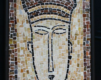Glass Mosaic Art ~  Handmade Mosaic Wall Hanging ~ Smalti Glass Mosaic Modigliani Themed Beige Face - Handmade Mosaic Art by ElleBelleArt