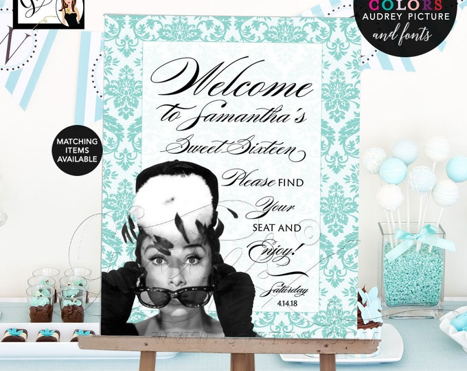 Welcome Sign, Poster Sweet 16 Breakfast at Party Theme. Audrey Hepburn Party Printables, Blue and White. Birthday Sign, DIY, Gvites