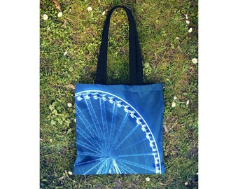 Blue Tote Bag Ferris Wheel, Yoga Bag, Farmers Market Bag, Shopping Bag, Reusable Tote, Seattle Great Wheel - Small and Large Sizes Available