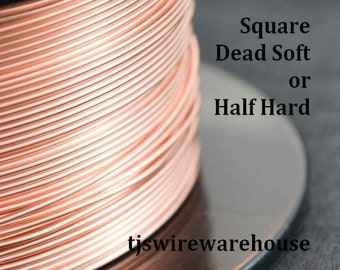 Square Raw Copper Wire, You Pick the Gauge, Length, & Temper,  100% Guarantee, Made in USA