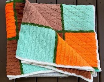 Vintage Colorblock Blanket - Colorful Throw - Multi Color- Colorful Square - Green Orange Brown Aqua Fall Autumn