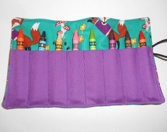 Fox crayon roll up to hold 8 count regular crayons or jumbo crayons