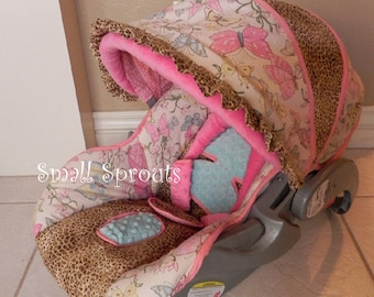 Baby Trend Flex Loc Butterfly/Leopard Infant Cover 5 piece set~Ready To Ship