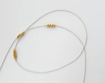 Silver and gold Wheat necklace very long Layered chain gold leaf, Minimalist plant boho necklaces long Twig pendants, nature lover jewellery