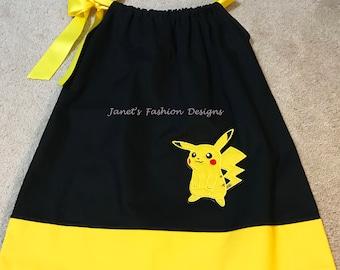 Pikachu Inspired Pillowcase Dress - Pikachu applique embroidered Outfit - Pokemon Personalized  Dress - Black Pillowcase dress