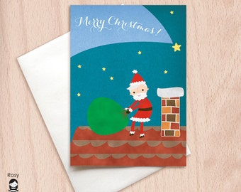 Merry Christmas - Santa on the Roof - Christmas Greeting Card