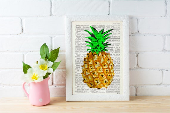 Pineapple Wall decor, giclee print art Hipster Pineapple original artwork Printed on Vintage Dictionary page BFL096
