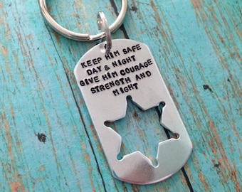 Keep him safe day and night give him courage strength and might Key Ring - Keychain - Dad - Sheriff - Police - Hero - Poem - Prayer - Wife