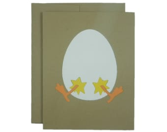Easter Egg and Chick Handmade Greeting Card Easter Card for Easter Greeting Card Easter Card for Kids Easter Card Handmade Easter Card Cute