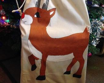 HandPainted Natural Cotton Drawstring Rudolph Reindeer Santa Sack Extra Large 75x50cm
