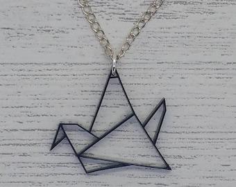 Origami Soaring Bird Acrylic Necklace - Black