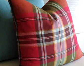 Red Plaid Pillow Cover Red Olive Green Tartan Knife Edge or Piping 18x18 20x20 22x22 Accent Throw