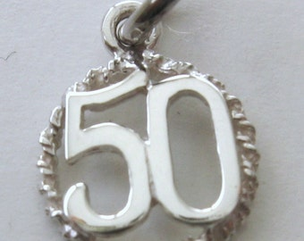 Genuine SOLID 925 STERLING SILVER 50 th birthday Anniversary charm pendant