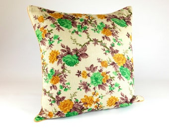 Floral Print Pillow, Conservatory Jute Pillow, Gif for her, Large Garden Pillow, Botanical Home Décor