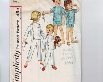 1960s Vintage Sewing Pattern Simplicity 4714 Childrens Boys Girls Intern Pajamas PJs Size 2 Breast 21 60s