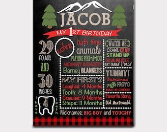 Lumberjack Birthday Board   Woodland Birthday   First Birthday   Chalkboard   Lumberjack Invitation