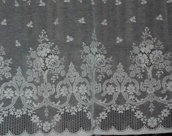 "Vintage Jessica cotton cafe curtain Nottingham lace valance bris-bise crafts 18"" drop sold off the roll per metre(39.4"")"