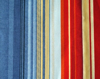 1/2 YARD, COTTON PRINT, Blue Red Tan Vertical Stripes, Quilting or Craft Fabric, Michael Miller, Colorband 1257, B4