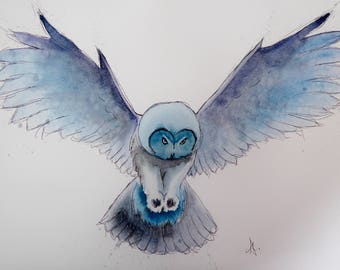Owl Original Watercolour and Ink Sketch
