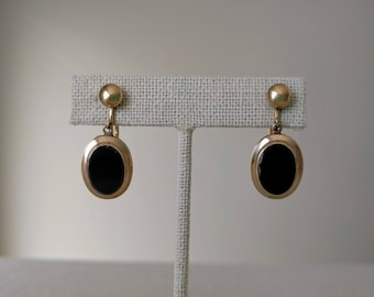 """LAST CHANCE Vintage Earrings, Black Onyx, 12 kt Gold Filled, Screw Post, Dangle, Drop, 1.25"""", Signed """"CM"""", Fifties, Ca. 1950s, Gift for Her"""