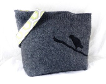 Felted Wool Purse, Handmade Bird Purse, Amy Butler, Black and Gray