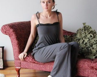 organic pajama set in soft cotton jersey with cotton lace trim - HESTER - sleepwear and lingerie range - made to order
