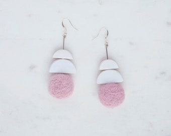 Pink felted + polymer clay Shapes Earrings