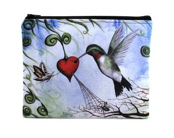 Nectar Of The Heart - Zipper Pouch - Whimsical Hummingbird Sucking Nectar From A Heart - Art by Marcia Furman