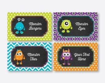 Instant Download, Editable Monster Food Labels, Monster Food Tags, Buffet Card, Table Tents, Monster Party Printable, Chalkboard (CKB.21)