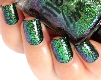 Flakie Nail Polish, Ultra Multichrome Flake Lacquer, Color Shifting Glitter, Color Changing Nails, Green Blue Purple, Custom Indie, TRIFECTA