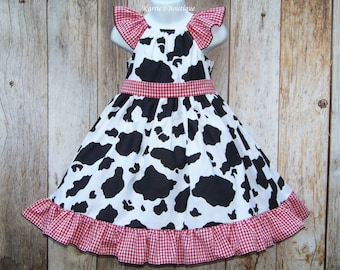 Cowgirl Twirl Dress / Cow Print + Red Gingham / Western / Rodeo / Flower Girl / Pageant / Infant / Baby / Girl / Toddler / Boutique Clothing