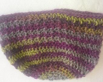 Hat, Tam, Striped Hat, Beanie, Winter Hat, Crochet Hat, Adult Hat, Purple Hat, Green Hat, Wool Hat, Handmade, Purple, Green