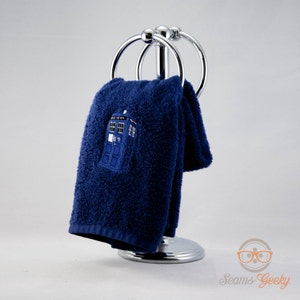 Doctor Who Hand Towel   TARDIS   Embroidered Geeky Bathroom Towel Or  Kitchen Decor