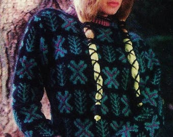 Nordic Sweater Vintage Knitting Pattern Instant Download