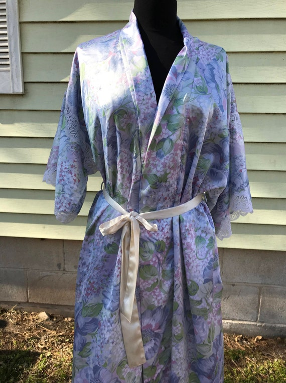 Christian Dior Satin Wrap Robe/Dressing Gown/1960s 70s/Pastel