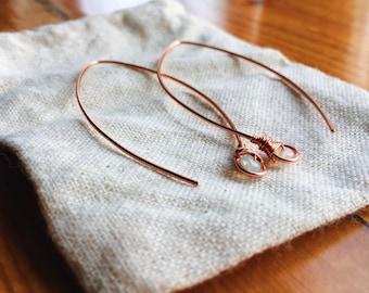 Ethiopian Welo Opal Threader Copper Earrings