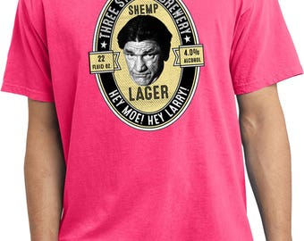 Men's 3 Stooges Shemp Lager Brewery Hey Moe Hey Larry Pigment Dyed Tee T-Shirt 21545HD2-PC099