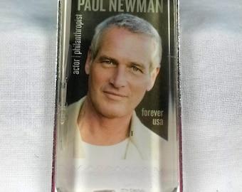 Paul Newman Movie Star Classic Butch Cassidy Sundance Kid Philanthropist Cleveland Pendant Key Ring Genuine Postage Stamp
