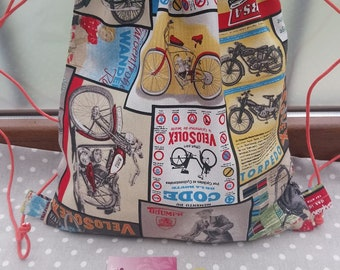 Vintage motorbike backpack with matching coin purse