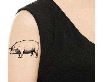 Temporary Tattoo - Pig / Tattoo Flash