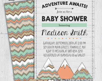 Printable Adventure Awaits Baby Shower Invitation -- Tribal Rustic Mountain, The Adventure is About to Begin Shower Invitation -- PNG & JPG