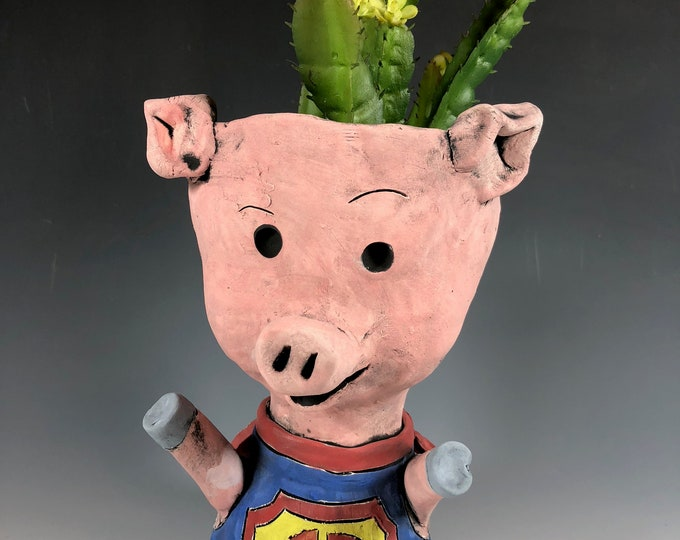 Super Swine // Small Pig Sculpture // Animal Planter // Succulent Pot // Piggy // Superhero // Unique Gift // Pothead // Cute // Adorable