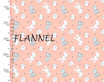 Woodland Animal Flannel, Bunny, Squirrel, Owl, 3 Wishes Playful Cuties 12966 Lt Coral, Baby Quilt Flannel, Woodland Baby Flannel, Cotton