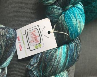 """DESTASH - Neeleys Knits Sock BFL/Silk yarn in Game of Thrones inspired colorway """"Winter is Coming"""" colorway"""