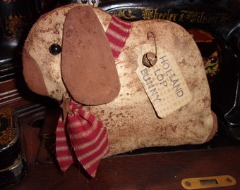 Primitive Grungy Holland Lop Bunny with Red Homespun Tie & Rusty Bell OFG HAFAIR Teams