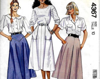 McCall's 4367     Misses 'A' Line Skirts with Front Variations     Size 10     Uncut
