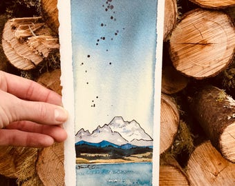 Mt. Baker Watercolor with pen and ink, Coupeville Washington, Whidbey Island, Pacific Northwest art