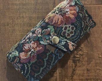 Embroidered Floral Vintage Hair Brush Holder and Toiletry Bag